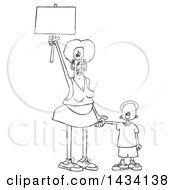 Clipart Of A Cartoon Lineart Black Female Protestor Holding Her Sons Hand Shouting And Holding Up A Blank Sign Royalty Free Vector Illustration