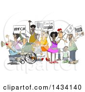 Clipart Of A Cartoon Crowd Of Angry Protestors Holding Up Signs Royalty Free Vector Illustration