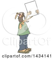 Cartoon White Male Hippie Protestor Wearing A Peace Shirt And Holding Up A Blank Sign