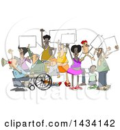 Clipart Of A Cartoon Crowd Of Angry Protestors Holding Up Blank Signs Royalty Free Vector Illustration