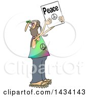 Cartoon White Male Hippie Protestor Holding Up A Peace Sign