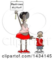Clipart Of A Cartoon Female Protestor Holding Her Sons Hand Shouting And Holding Up A Black Lives Matter Sign Royalty Free Vector Illustration
