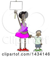 Cartoon Black Female Protestor Holding Her Sons Hand Shouting And Holding Up A Blank Sign