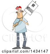 Cartoon White Male Protestor Holding An On Strike Sign