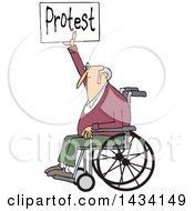 Cartoon White Senior Male Protestor In A Wheelchair Holding Up A Protest Sign