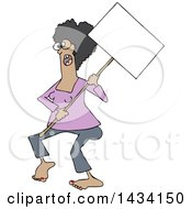 Clipart Of A Cartoon Black Female Protestor Wearing Spectacles And Holding A Blank Sign Royalty Free Vector Illustration