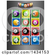 Clipart Of A Brushed Metal Fruit Machine With Lottery Balls And Winning 8 Ball Number Line Royalty Free Vector Illustration