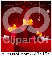 3d Gift Box With Bauble Ornaments And Bows Over A Red Background With Flares
