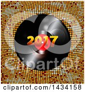 3d Music Vinyl Record Album With 2017 Over Golden Mosaic