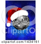 Silver Disco Ball With A Christmas Santa Hat Over A Blue Flare Background