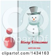 Clipart Of A Merry Christmas And A Happy New Year Greeting With A Snowman Suspended Snowflakes And Red Bauble Panel Royalty Free Vector Illustration by elaineitalia