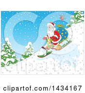Cartoon Robin Bird Following Santa Claus With A Christmas Sack Going Down Hill On A Snow Trike Sled