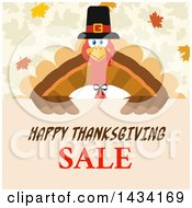 Pilgrim Turkey Bird Over A Happy Thanksgiving Sale Sign With Autumn Leaves