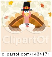 Pilgrim Turkey Bird Over A Sign With Autumn Leaves
