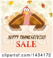 Turkey Bird Over A Happy Thanksgiving Sale Sign With Autumn Leaves