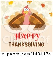 Turkey Bird Over A Happy Thanksgiving Sign With Autumn Leaves