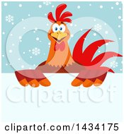 Flat Design Style Clipart Of A Chicken Rooster Bird Over A Sign On Snowflakes Royalty Free Vector Illustration by Hit Toon