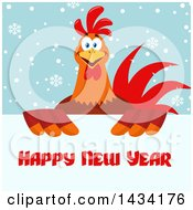 Happy New Year Greeting Over A Chicken Rooster Bird Over Snowflakes