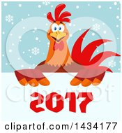 Chicken Rooster Bird Over New Year 2017 Numbers On Snowflakes