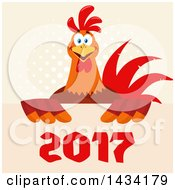 Flat Design Style Clipart Of A Chicken Rooster Bird Over New Year 2017 Numbers On Halftone Royalty Free Vector Illustration by Hit Toon