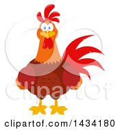 Flat Design Style Clipart Of A Chicken Rooster Bird Royalty Free Vector Illustration by Hit Toon