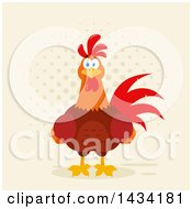 Flat Design Style Clipart Of A Chicken Rooster Bird Over Halftone Royalty Free Vector Illustration by Hit Toon