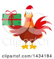 Flat Design Style Clipart Of A Chicken Rooster Bird Wearing A Santa Hat And Holding A Christmas Present Royalty Free Vector Illustration by Hit Toon