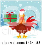 Chicken Rooster Bird Wearing A Santa Hat And Holding A Christmas Present In The Snow