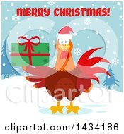 Merry Christmas Greeting Over A Chicken Rooster Bird Wearing A Santa Hat And Holding A Gift In The Snow