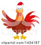 Flat Design Style Clipart Of A Christmas Chicken Rooster Bird Wearing A Santa Hat Royalty Free Vector Illustration by Hit Toon