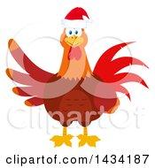 Christmas Chicken Rooster Bird Wearing A Santa Hat