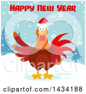 Happy New Year Greeting Over A Chicken Rooster Bird In The Snow