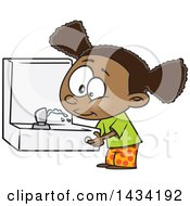 Clipart Of A Cartoon Black Girl Drinking From A Fountain Royalty Free Vector Illustration by Ron Leishman