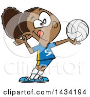 Cartoon Athletic Black Girl Serving A Volleyball