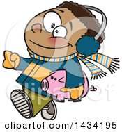 Cartoon Happy Black Boy In Winter Clothes Carrying His Piggy Bank To Go Christmas Shopping