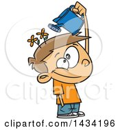 Clipart Of A Cartoon Caucasian Boy Watering His Mind Flowers With A Can Royalty Free Vector Illustration