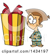 Clipart Of A Cartoon Excited Caucasian Boy Looking At A Large Christmas Present Royalty Free Vector Illustration