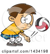 Cartoon Caucasian Boy Playing Volleyball