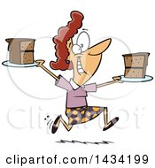 Cartoon Happy Caucasian Woman Running With Slices Of Cake