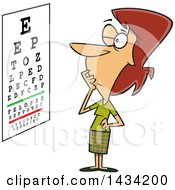 Clipart Of A Cartoon Caucasian Woman Trying To Read An Eye Chart Royalty Free Vector Illustration