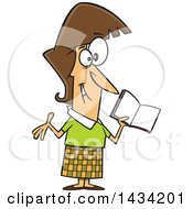 Clipart Of A Cartoon Happy Caucasian Female Teacher Holding A Book Royalty Free Vector Illustration by toonaday