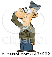 Cartoon Caucasian Senior Veteran Saluting