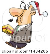 Clipart Of A Cartoon Happy White Man Wearing A Santa Hat Whistling And Carrying A Christmas Gift Royalty Free Vector Illustration