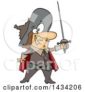 Clipart Of A Cartoon Musketeer Holding A Sword Royalty Free Vector Illustration