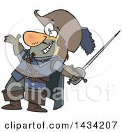 Clipart Of A Cartoon Musketeer Presenting And Holding A Sword Royalty Free Vector Illustration