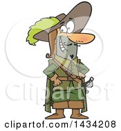 Clipart Of A Cartoon Musketeer Standing With Hands On His Hips Royalty Free Vector Illustration by Ron Leishman