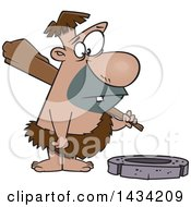 Clipart Of A Cartoon Caveman Looking Expectantly At A Stone Wheel Royalty Free Vector Illustration by toonaday