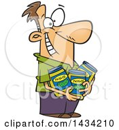 Cartoon Happy White Man Holding Jars Of Pickles