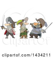 Clipart Of A Cartoon Group Of The Three Musketeers Royalty Free Vector Illustration by toonaday