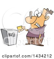 Cartoon White Man With A Clip On His Nose Casting His Vote